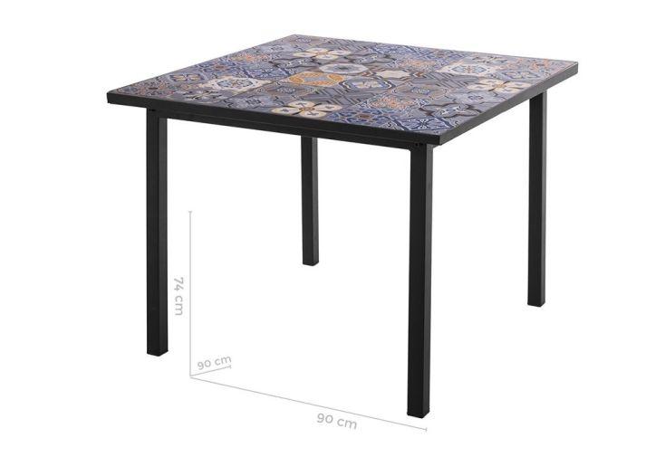 Table de Jardin Carrée Plateau Carreaux de Ciment 90 x 90 cm