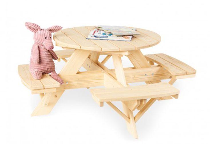table de jardin ronde pour enfant en bois
