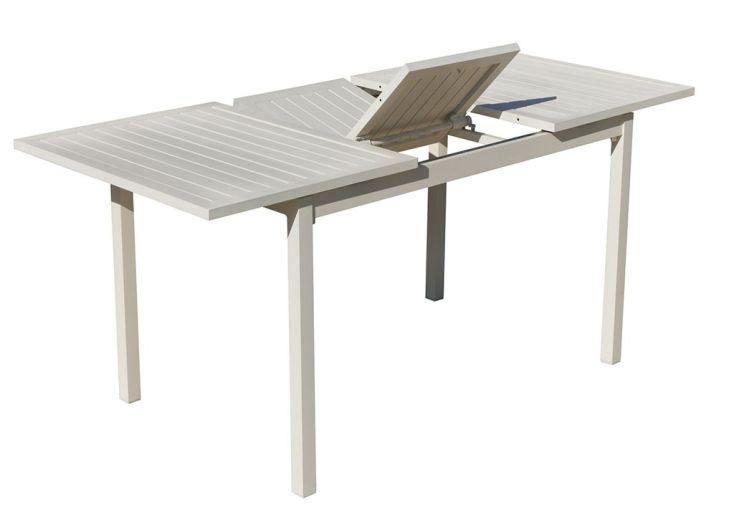 Table de Jardin Extensible en Aluminium Blanc Sarana