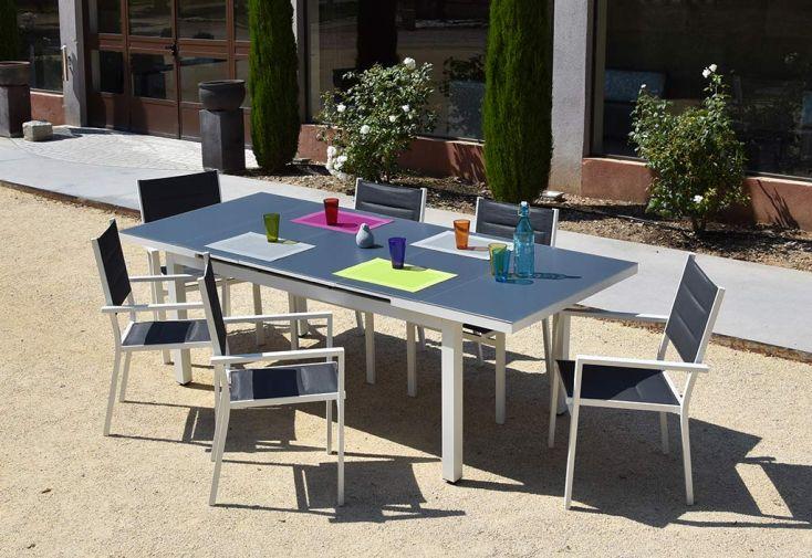 Table de Jardin Extensible en Aluminium et Verre Venezia 180/240 cm