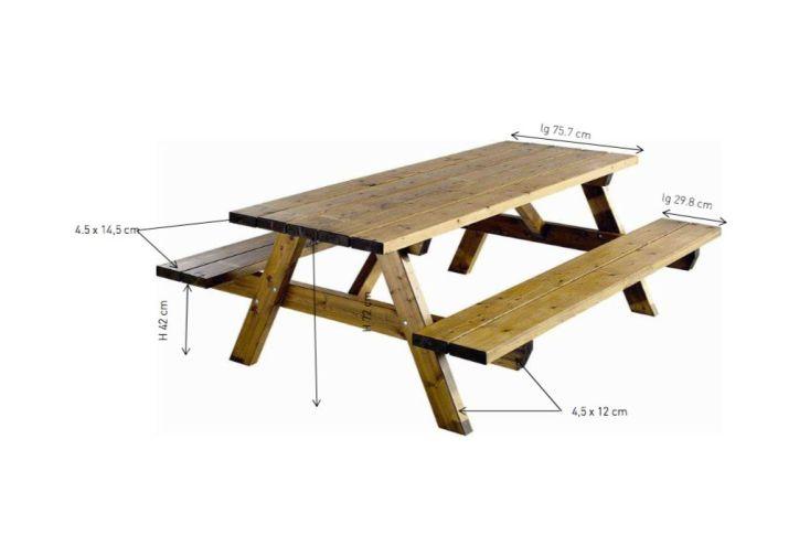 table de pique nique de 200 x 160 cm pour 6 places