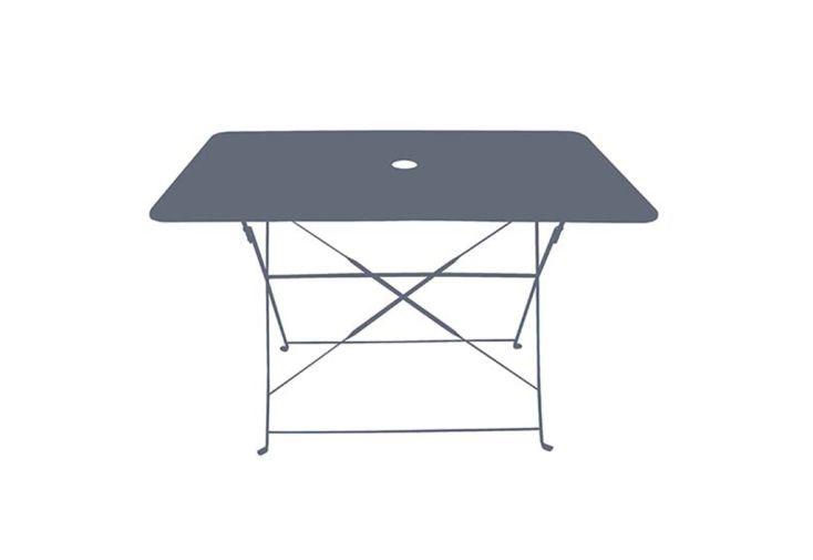 Table de jardin pliante rectangulaire en acier Chalêt-Jardin Bistrot 110 x 70 cm gris