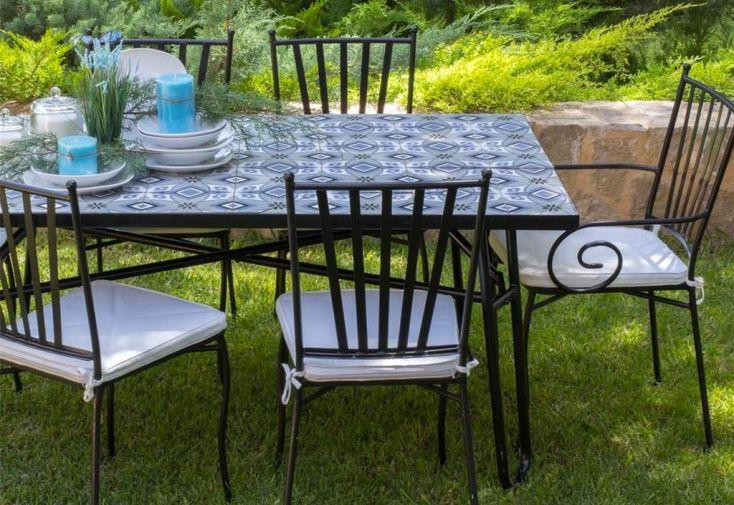 Table de Jardin Rectangulaire Plateau Carreaux de Ciment 150 x 90 cm
