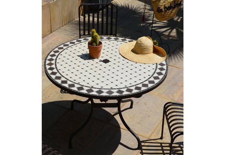Table de Jardin Ronde en Métal et Mosaïque Ø 110 cm