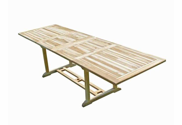 Salon de Jardin Bois Teck Table Extensible Rectangulaire 280 cm + 10 chaises