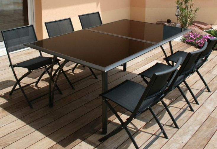 Table jardin aluminium verre castorama table de jardin - Salon de jardin aluminium castorama ...