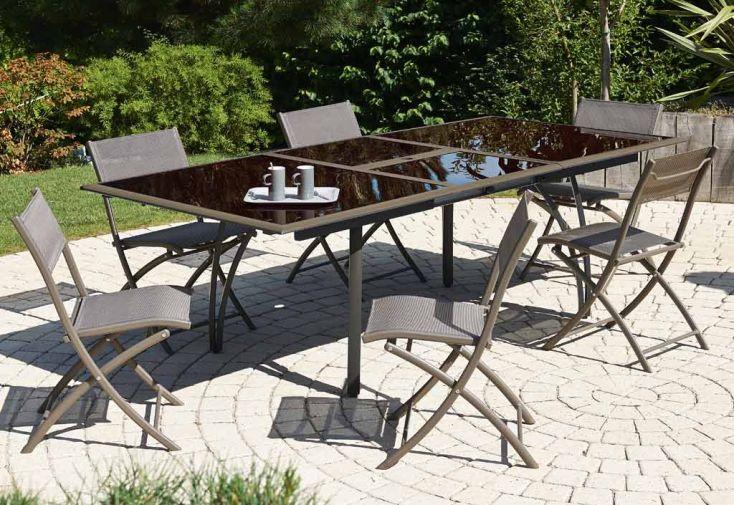 Table Jardin Verre Fumé + Alu (180/240x110x73) Cappuccino