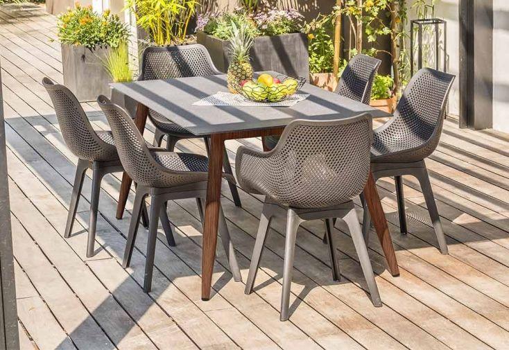 Table de jardin scandi aluminium et verre 160 x 90 cm dcb garden - Table de jardin moderne ...