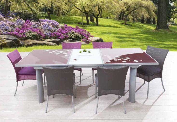 Table Jardin Verre Bicolore (180/240x110x76)