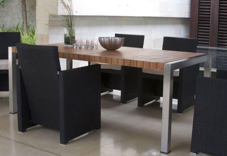 Table Teck et Inox Loro (200x100cm)