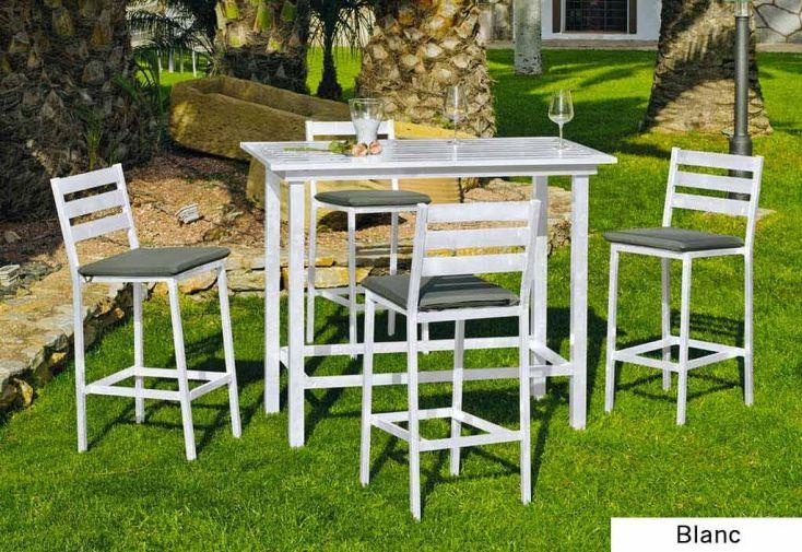 Salon de Jardin en Alu avec Table Mange Debout et 4 Chaises hautes