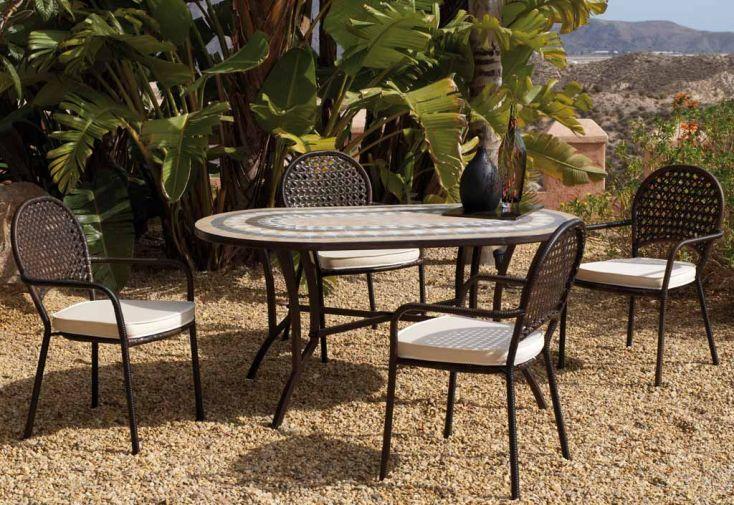 Salon Jardin en Mosaïque et Résine, Table Oasis + 6 Fauteuils Belfast