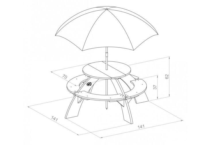 dimensions de la table de pique-nique ronde pour enfants