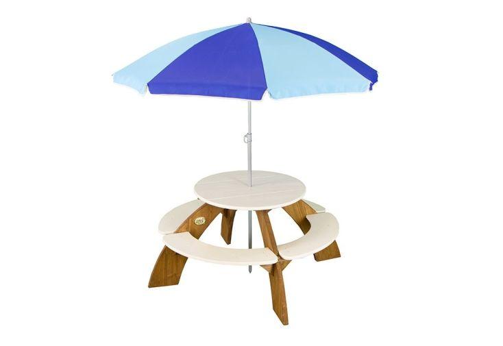 table ronde de jardin en bois pour enfants avec parasol