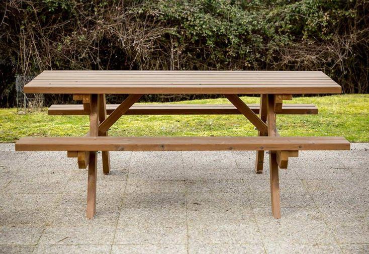 Table de Pique-Nique en Bois Thermo Chauffé 6 Personnes