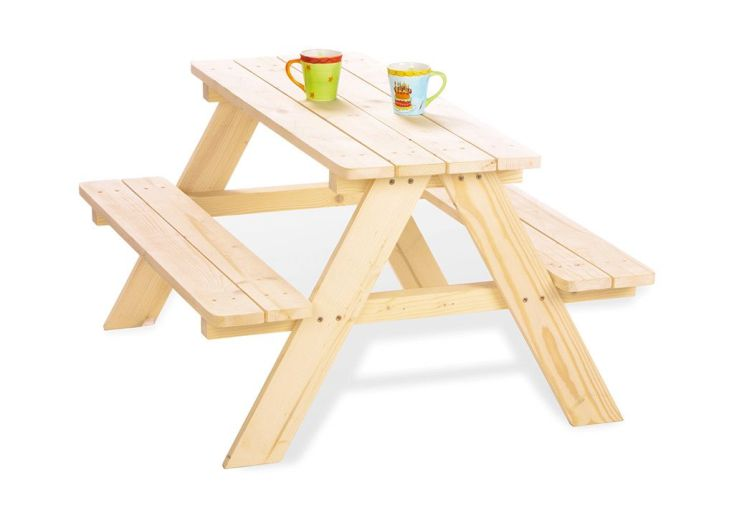 Table de Pique-Nique pour Enfants en Bois (Naturelle)