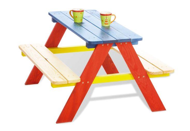 Table de Pique-Nique pour Enfants en Bois (Rouge et Bleue)
