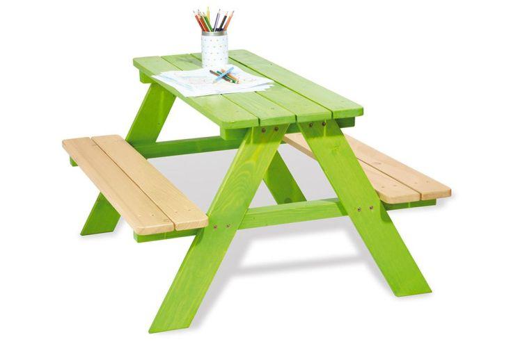 table de pique nique pour enfants en bois verte pinolino. Black Bedroom Furniture Sets. Home Design Ideas
