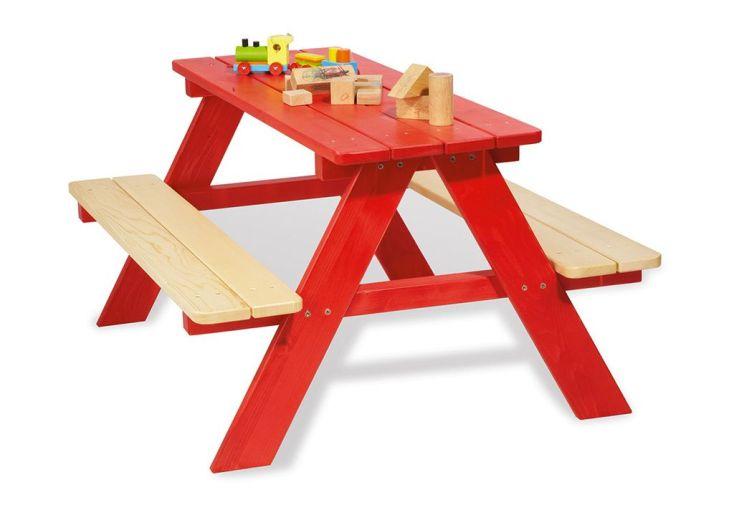 Table de Pique-Nique pour Enfants en Bois (Rouge)