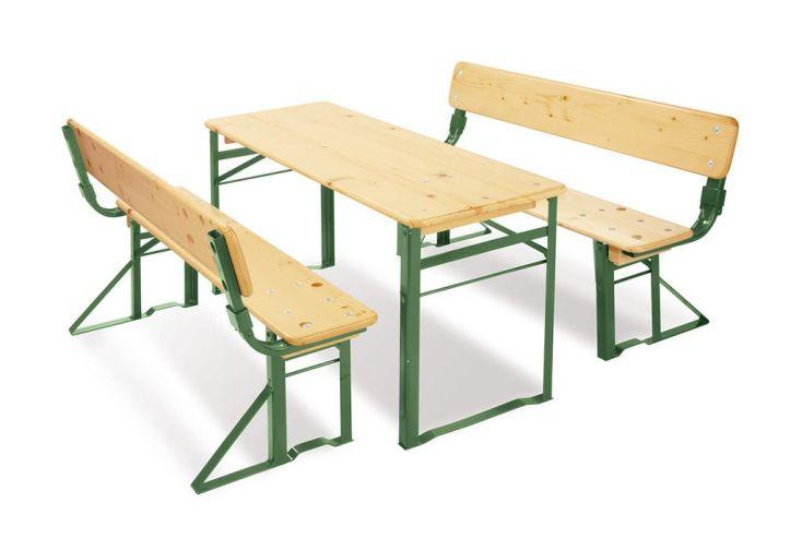 Table de Jardin pour Enfant Pliable + Bancs et Dossiers (6 Places)