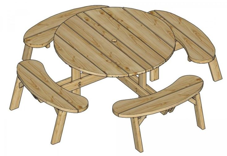 Table de Pique-Nique Ronde en Bois Autoclave 220 cm 40 mm Picnic ...