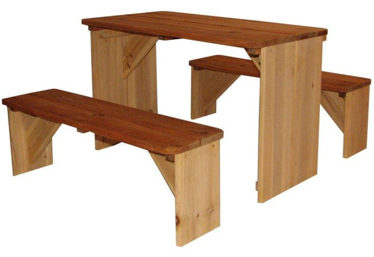 table pique-nique 70 x 80 x 45 cm bois fsc cèdre tropical