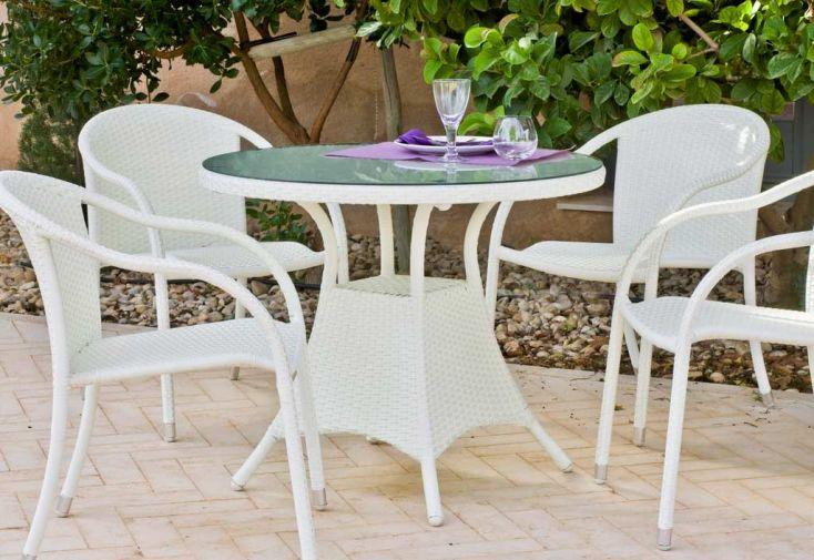 Table de Jardin en Résine Tressée Blanc Ø90cm Calblanc