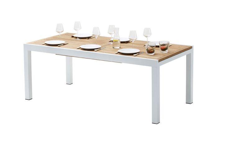Salon de Jardin Bali : Table Extensible en Alu et Teck + 6 Fts + 4 Ch