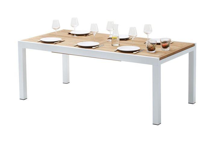 Salon de Jardin Bali : Table Extensible en Alu et Teck + 8 Fts + 4 Chs