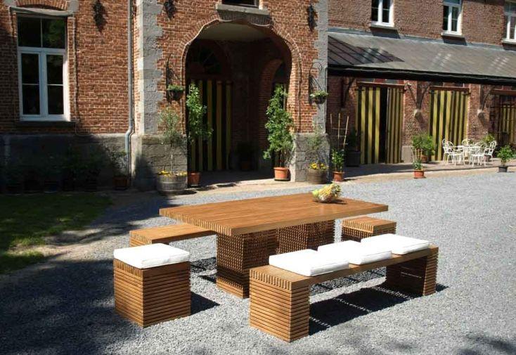 Salon de Jardin Vicio en Teck Naturel 8 places