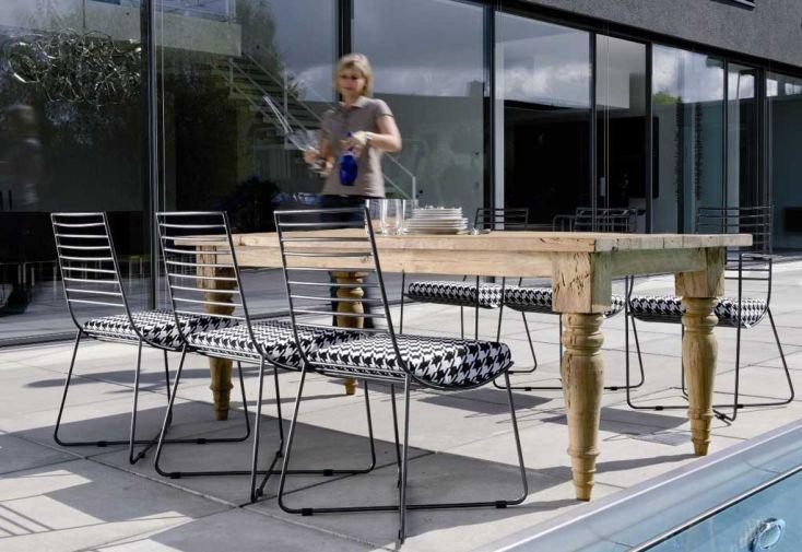 Salon de Jardin Teck et Fer Poudré Tess Table (200x100cm) + 6 ...