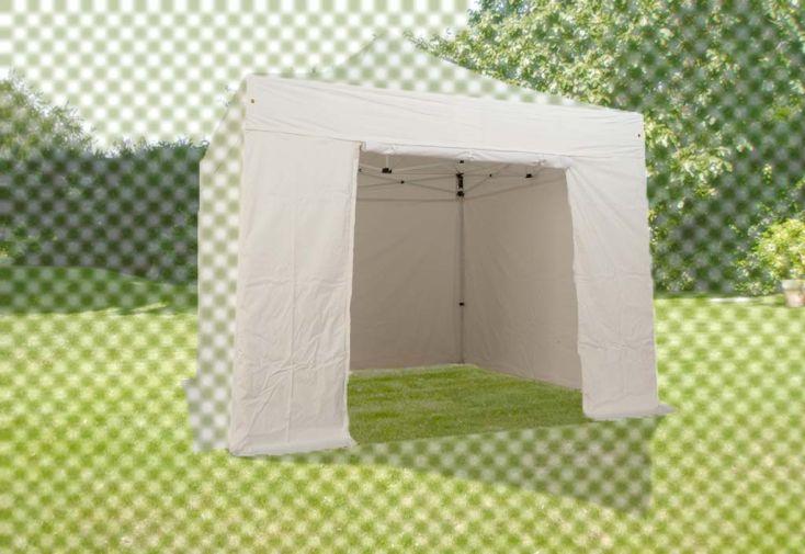 Mur Porte PVC Blanc 520 gr/m² pour Tente Pliante 3x3 Alu