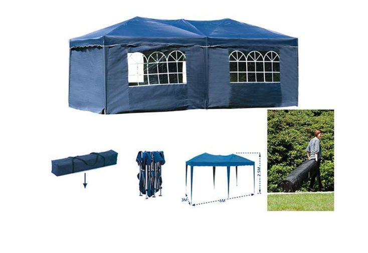 Tente de Réception Pliante Bleue 3x6m