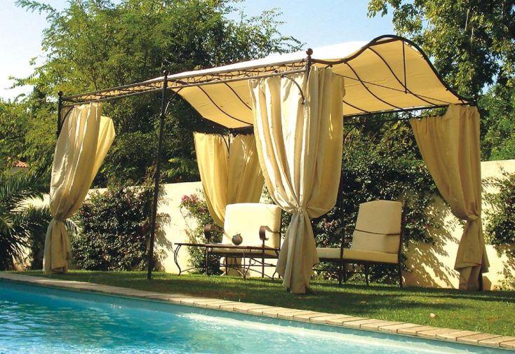 Tonnelle en acier marron avec toile et rideaux 3 x 4 m 12 m²