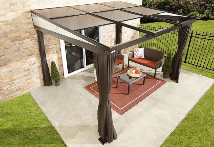 tonnelle adoss e en aluminium avec panneaux r tractables. Black Bedroom Furniture Sets. Home Design Ideas
