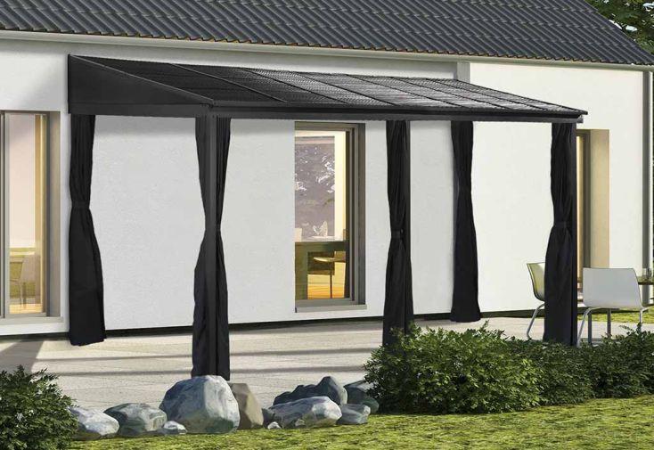 Tonnelle adossée en aluminium et acier galvanisé Sojag Portland 14,43 m²