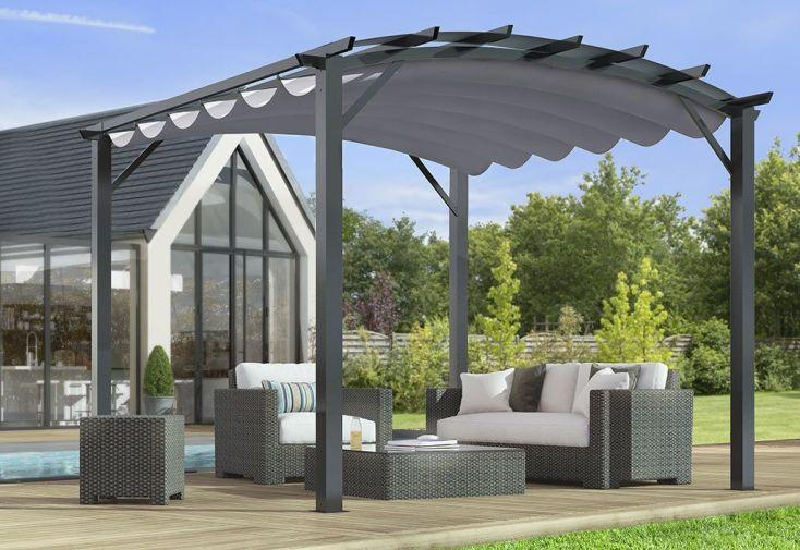tonnelle en aluminium et acier gris 11 m toile grise 140 gr m habrita. Black Bedroom Furniture Sets. Home Design Ideas