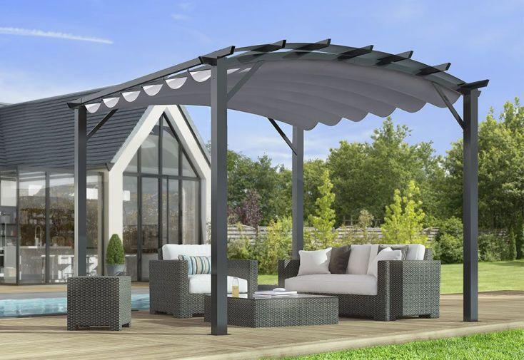 Pergola autoportée en aluminium et acier avec toile rétractable 11 m²