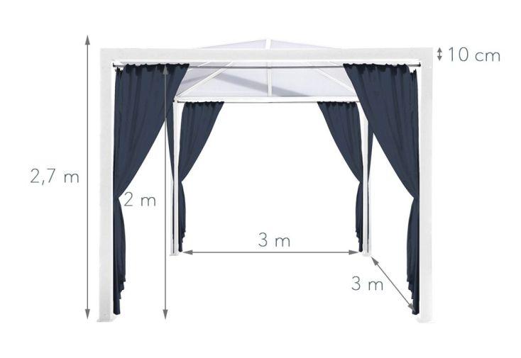 tonnelle alu 3 x 3 m avec toit polycarbonate et rideaux en. Black Bedroom Furniture Sets. Home Design Ideas