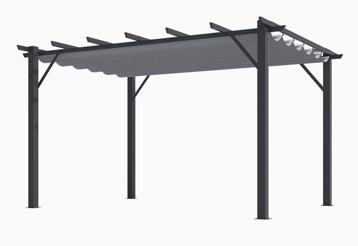 Tonnelle en Aluminium Gris 4 x 3 m + Toile Polyester Gris 280 gr/m²