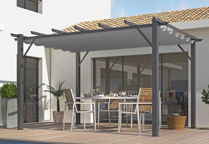 Tonnelle en Aluminium Gris 4 x 3 m + Toile Polyester Gris 280 gr/m² ...