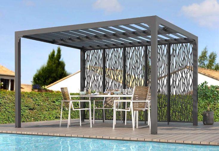 Pergola bioclimatique en aluminium gris anthracite toiture lames orientables