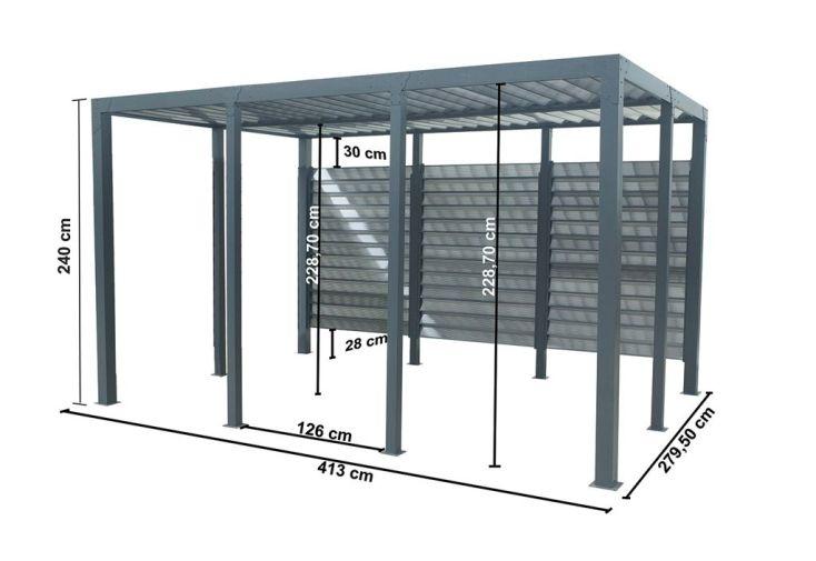 Tonnelle Aluminium et Toit Vantelles Fixes Polycarbonate (413x279cm)