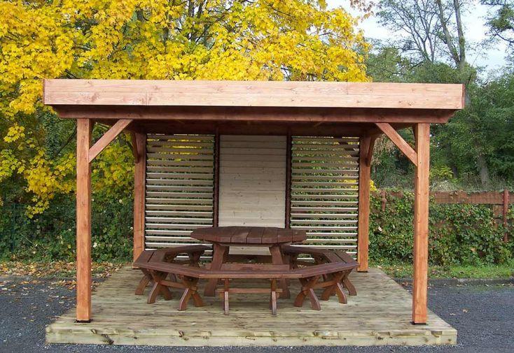 Tonnelle en Bois de Sapin avec Ventelles Mobiles 12 m²