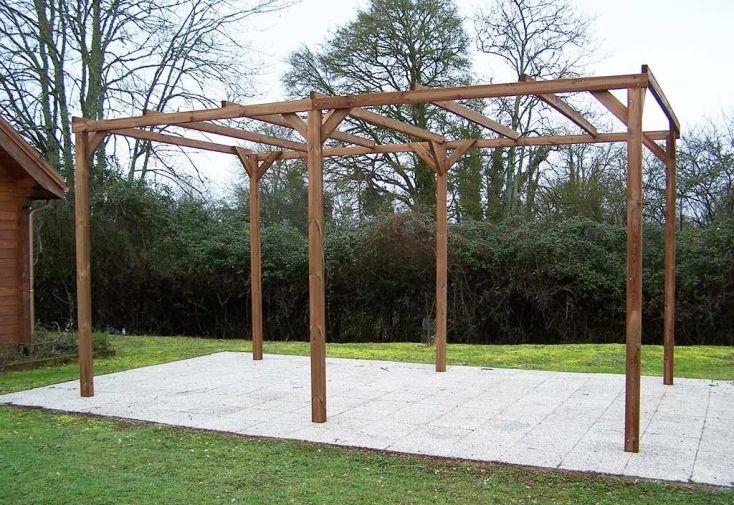 tonnelle en bois massif traité haute température résistante à la moisissure