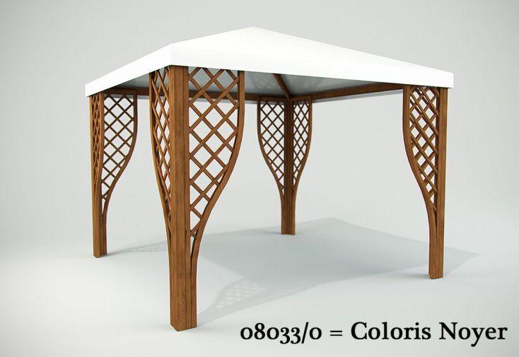 Tonnelle Bois Autoclave + PVC Calice 299x299cm (plusieurs coloris)