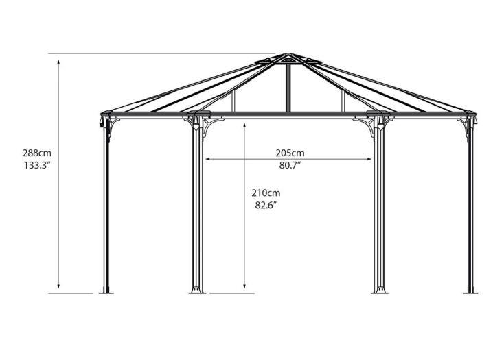 Tonnelle design hexagonale en aluminium 438x289cm chal t for Architecture hexagonale