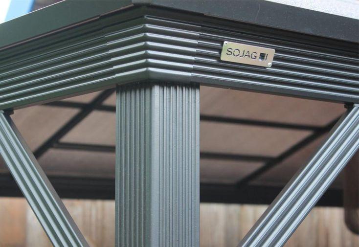Tonnelle en Aluminium Anthracite et Polycarbonate Bronze 4,22x2,98x2,60m