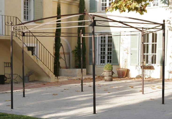 Tonnelle fer forg illusion hexagonale 4 5 m toile cid - Toile tonnelle illusion ...