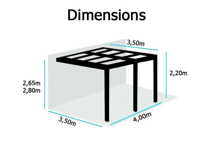 Tonnelle Phoenix Aluminium Evolutive à Lames Orientables 3,50x4m